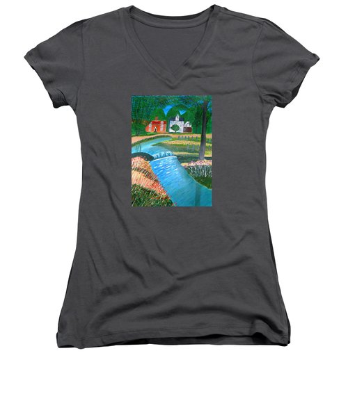 A Country Stream Women's V-Neck (Athletic Fit)