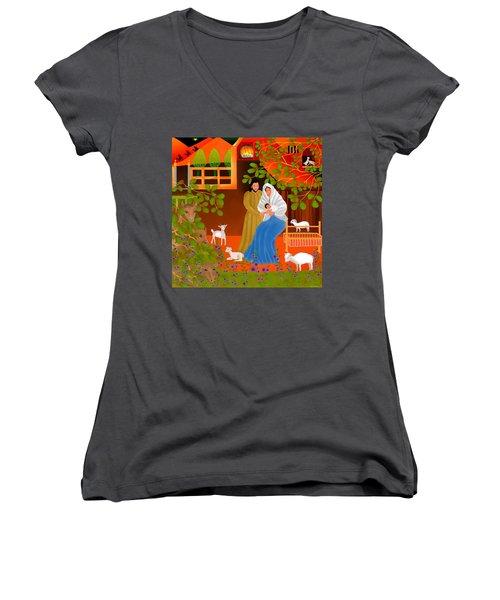 A Cradle In Bethlehem Women's V-Neck T-Shirt (Junior Cut) by Latha Gokuldas Panicker