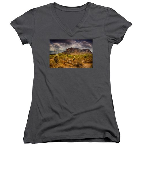 A Day At The Superstitions  Women's V-Neck (Athletic Fit)