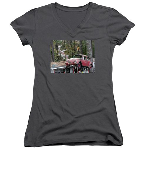 Women's V-Neck T-Shirt (Junior Cut) featuring the photograph A Difference Sleigh  by Donna Brown