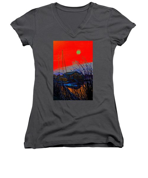 A Digital Marina Sunset Women's V-Neck