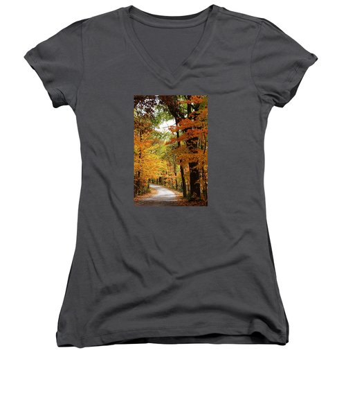 A Drive Through The Woods Women's V-Neck T-Shirt (Junior Cut) by Bruce Bley