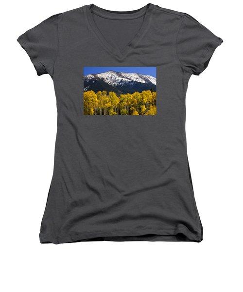 A Dusting Of Snow On The Peaks Women's V-Neck T-Shirt (Junior Cut) by Saija  Lehtonen