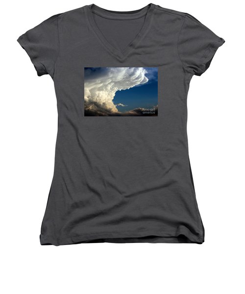 Women's V-Neck T-Shirt (Junior Cut) featuring the photograph A Face In The Clouds by Barbara Chichester