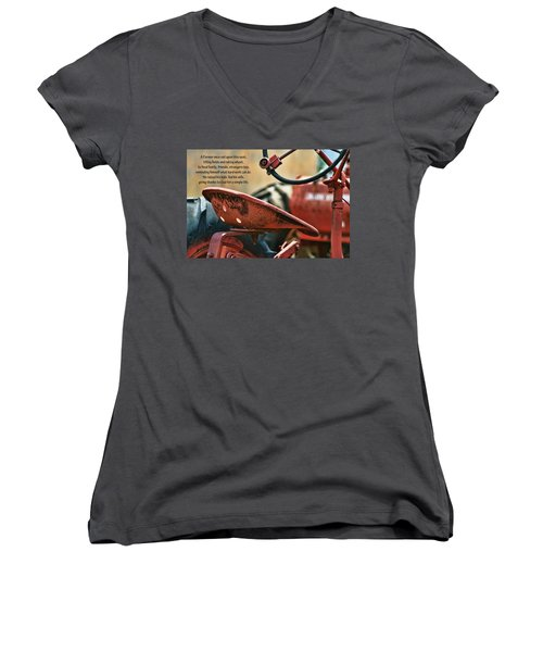 A Farmer And His Tractor Poem Women's V-Neck T-Shirt (Junior Cut) by Kathy Clark