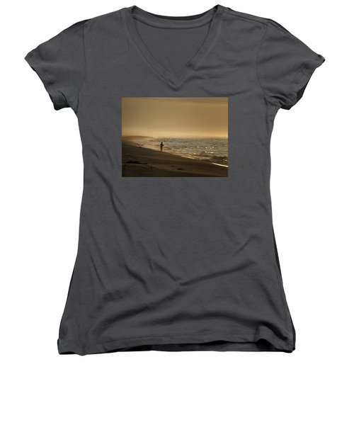 Women's V-Neck T-Shirt (Junior Cut) featuring the photograph A Fisherman's Morning by GJ Blackman