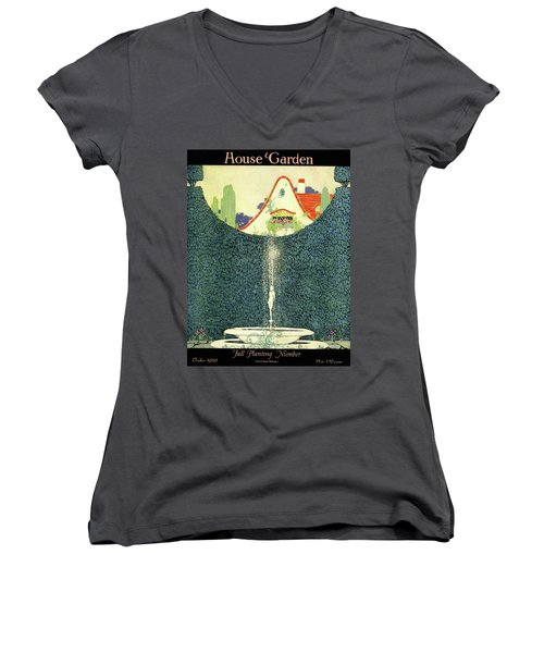 A Fountain With A Hedge In The Background Women's V-Neck