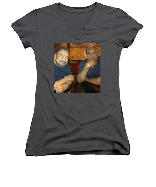 A Friend Mr. George Duke Women's V-Neck T-Shirt (Junior Cut) by Paul SEQUENCE Ferguson             sequence dot net