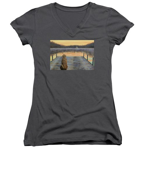 Women's V-Neck T-Shirt (Junior Cut) featuring the painting A Golden Moment by Susan DeLain