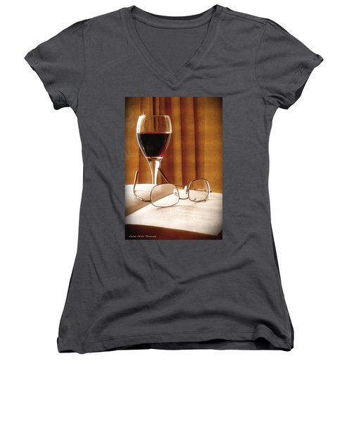 Women's V-Neck T-Shirt (Junior Cut) featuring the photograph A Good Book And A Glass Of Wine by Lucinda Walter