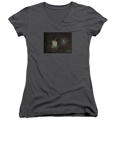A Good Long Think Women's V-Neck T-Shirt (Junior Cut) by Dawn Fairies