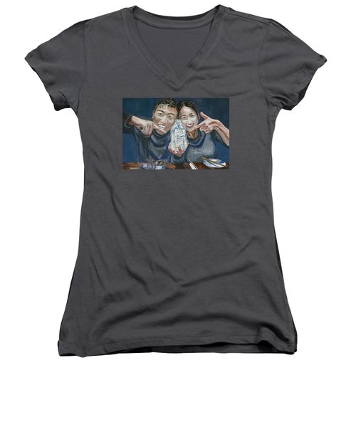 Women's V-Neck T-Shirt (Junior Cut) featuring the painting A Happy Birthday by Anna Ruzsan