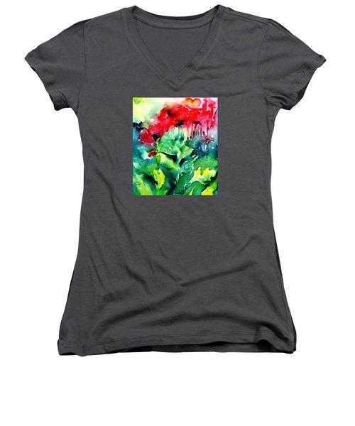 A Haze Of Poppies Women's V-Neck T-Shirt (Junior Cut) by Trudi Doyle