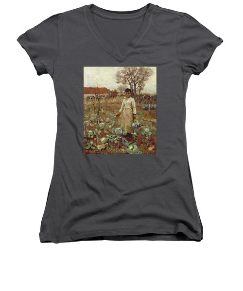 A Hinds Daughter, 1883 Oil On Canvas Women's V-Neck T-Shirt (Junior Cut) by Sir James Guthrie