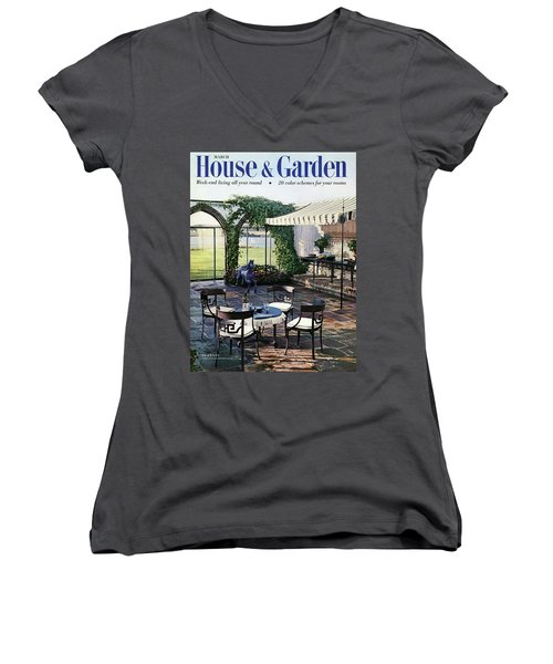 A House And Garden Cover Of A Terrace In East Women's V-Neck