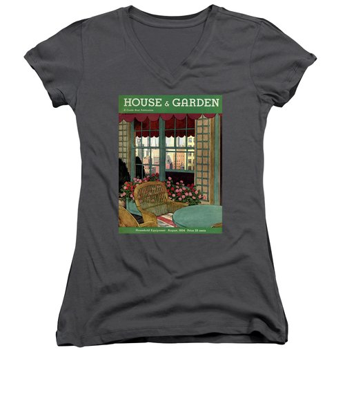 A House And Garden Cover Of A Wicker Chair Women's V-Neck