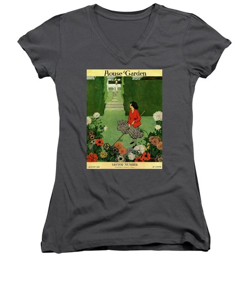 A House And Garden Cover Of A Woman Raking Leaves Women's V-Neck
