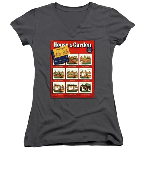 A House And Garden Cover Of Construction Stages Women's V-Neck