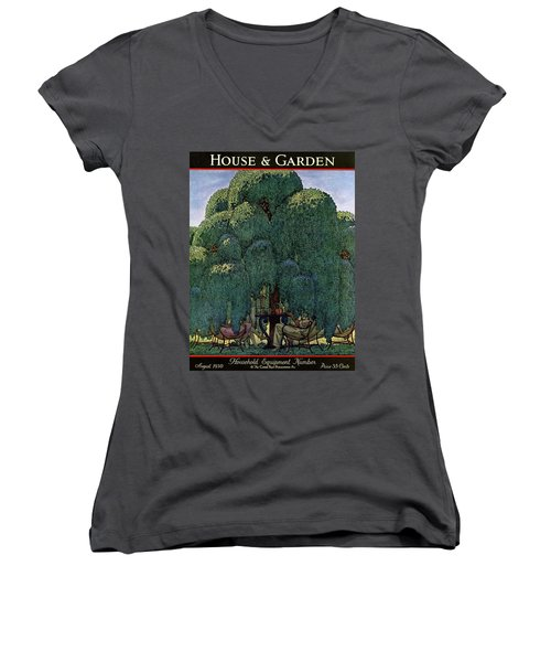 A House And Garden Cover Of People Dining Women's V-Neck