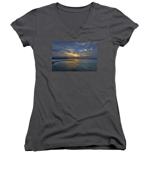 Women's V-Neck T-Shirt (Junior Cut) featuring the photograph a joyful sunset at Tel Aviv port by Ron Shoshani