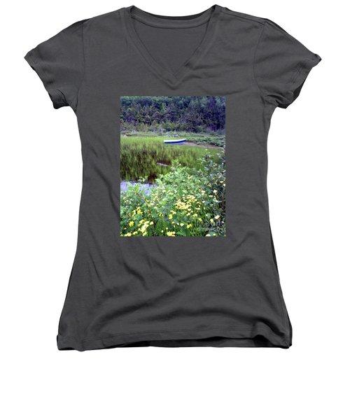 A Little Flat Awaiting Women's V-Neck T-Shirt (Junior Cut) by Barbara Griffin