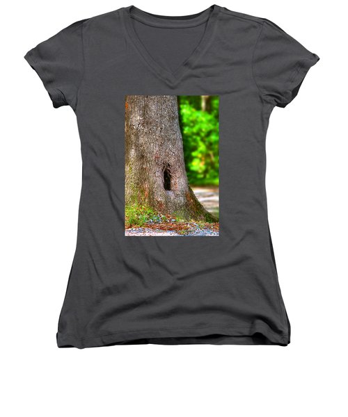 Women's V-Neck T-Shirt (Junior Cut) featuring the photograph A Little Hiding Place by Ester  Rogers