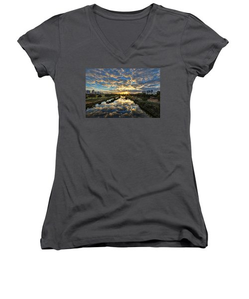 Women's V-Neck T-Shirt featuring the photograph A Magical Marshmallow Sunrise  by Ron Shoshani