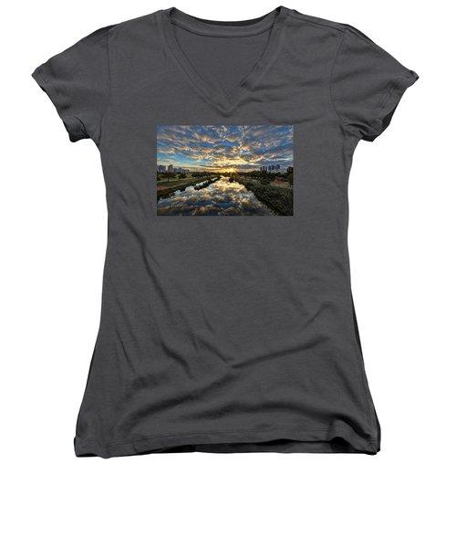 A Magical Marshmallow Sunrise  Women's V-Neck T-Shirt (Junior Cut) by Ron Shoshani