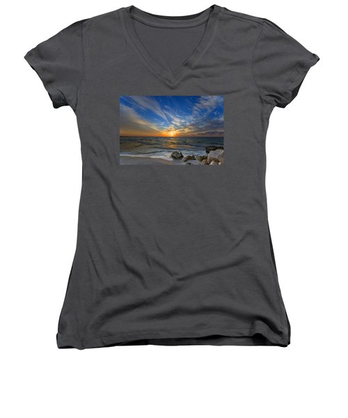 A Majestic Sunset At The Port Women's V-Neck T-Shirt (Junior Cut) by Ron Shoshani