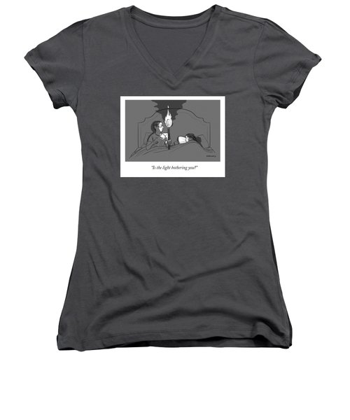 A Man Holds A Torch In Bed As His Reading Light Women's V-Neck