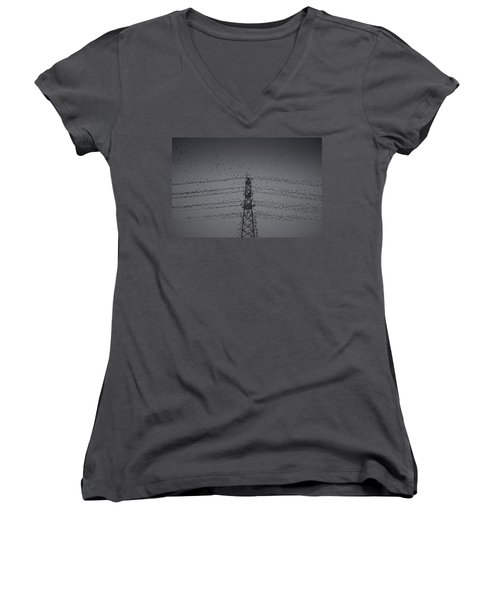A Murmuration Of Starlings Women's V-Neck (Athletic Fit)