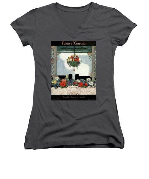 A Neo-classical Marble Window Sill Women's V-Neck