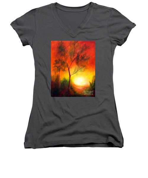 Women's V-Neck T-Shirt (Junior Cut) featuring the painting A New Day by Alison Caltrider
