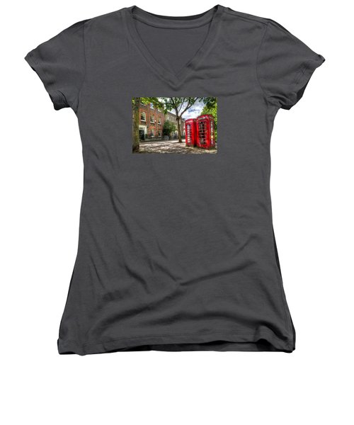A Pair Of Red Phone Booths Women's V-Neck