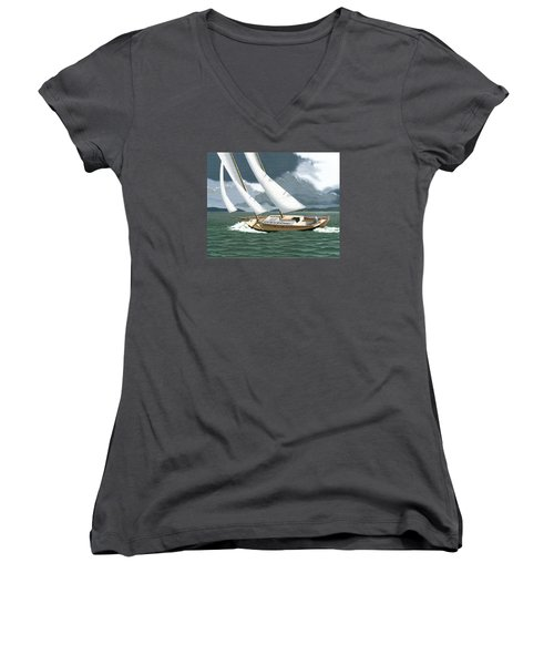 Women's V-Neck T-Shirt (Junior Cut) featuring the painting A Passing Squall by Gary Giacomelli