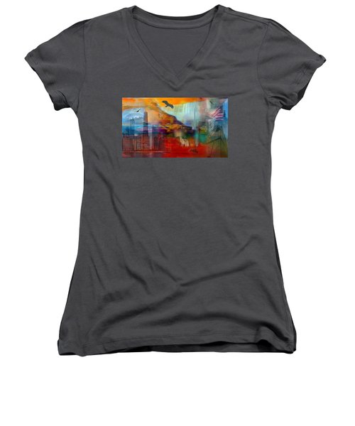Women's V-Neck T-Shirt (Junior Cut) featuring the photograph A Piece Of America by Randi Grace Nilsberg