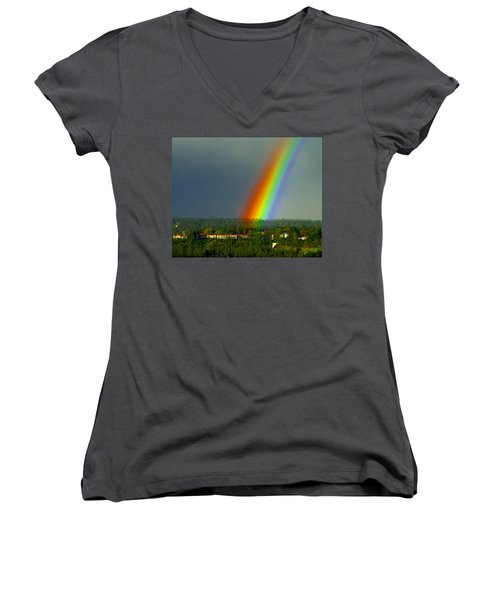 A Rainbow Blessing Spokane Women's V-Neck