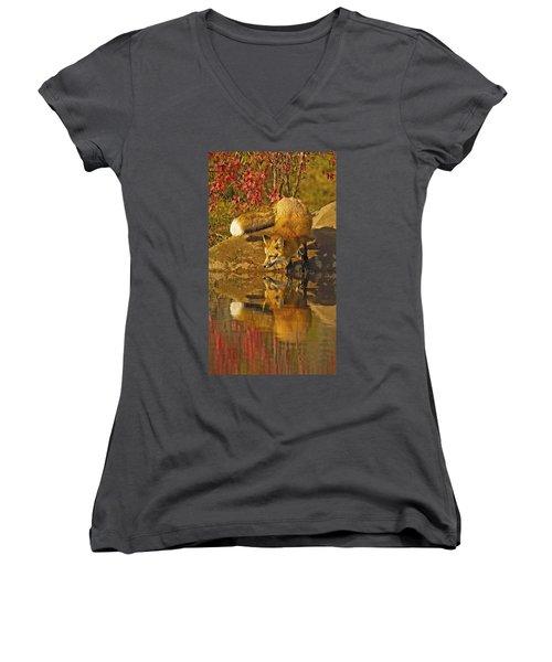 A Real Fox Women's V-Neck T-Shirt