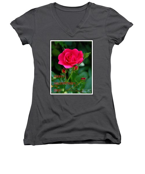 Women's V-Neck T-Shirt (Junior Cut) featuring the photograph A Rose For Valentine's Day by Mariarosa Rockefeller