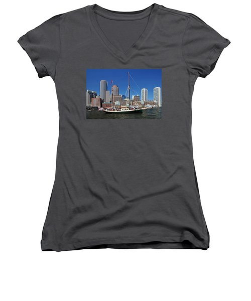 Women's V-Neck T-Shirt (Junior Cut) featuring the photograph A Ship In Boston Harbor by Mitchell Grosky