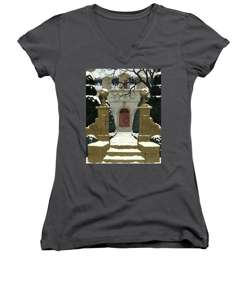 A Snow Covered Pathway Leading To A Mansion Women's V-Neck
