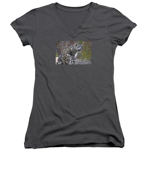 A Snow Leopards Tongue Women's V-Neck T-Shirt (Junior Cut) by David Millenheft