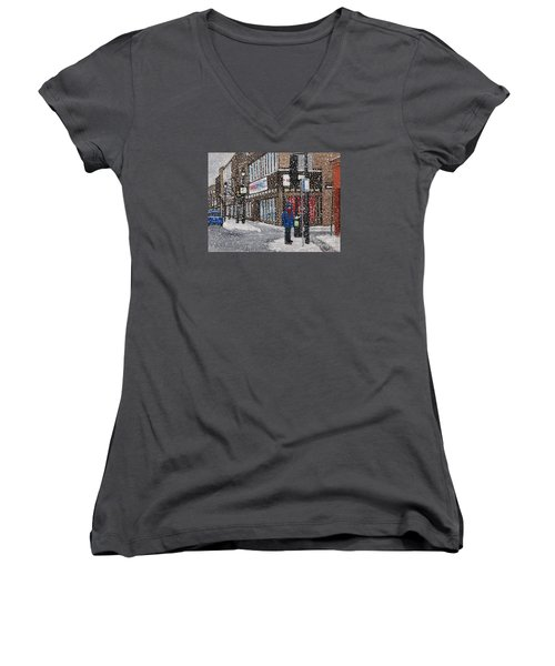 A Snowy Day On Wellington Women's V-Neck T-Shirt (Junior Cut) by Reb Frost
