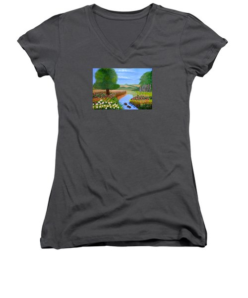 Women's V-Neck T-Shirt (Junior Cut) featuring the painting A Spring Stream by Magdalena Frohnsdorff