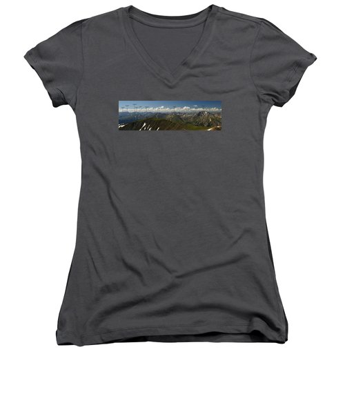 A Summit View Panorama Text Women's V-Neck T-Shirt (Junior Cut) by Jeremy Rhoades