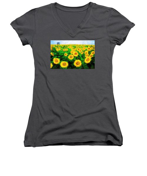 A Sunny Day With Vincent Women's V-Neck T-Shirt (Junior Cut) by Sandy MacGowan