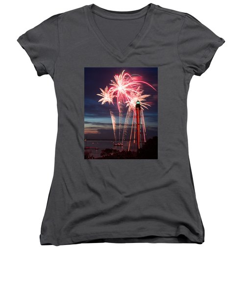 A Three Burst Salvo Of Fire For The Fourth Of July Women's V-Neck T-Shirt