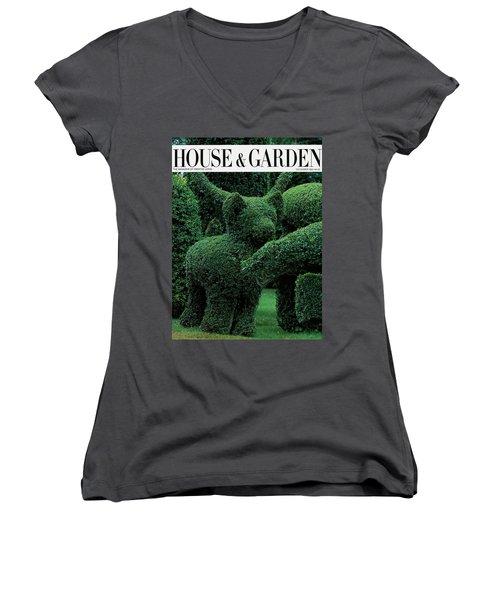 A Topiary Bear In Alice Braytons Green Animals Women's V-Neck