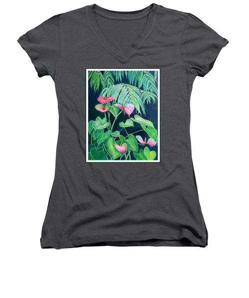 A Touch Of Red Women's V-Neck T-Shirt