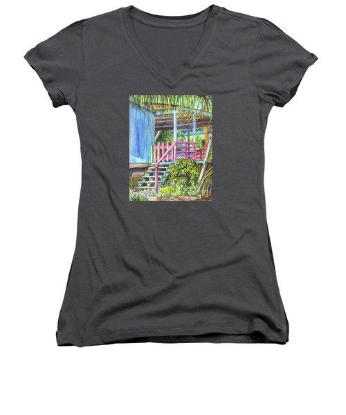 Women's V-Neck T-Shirt (Junior Cut) featuring the painting A Tropical House Porch by Carol Wisniewski